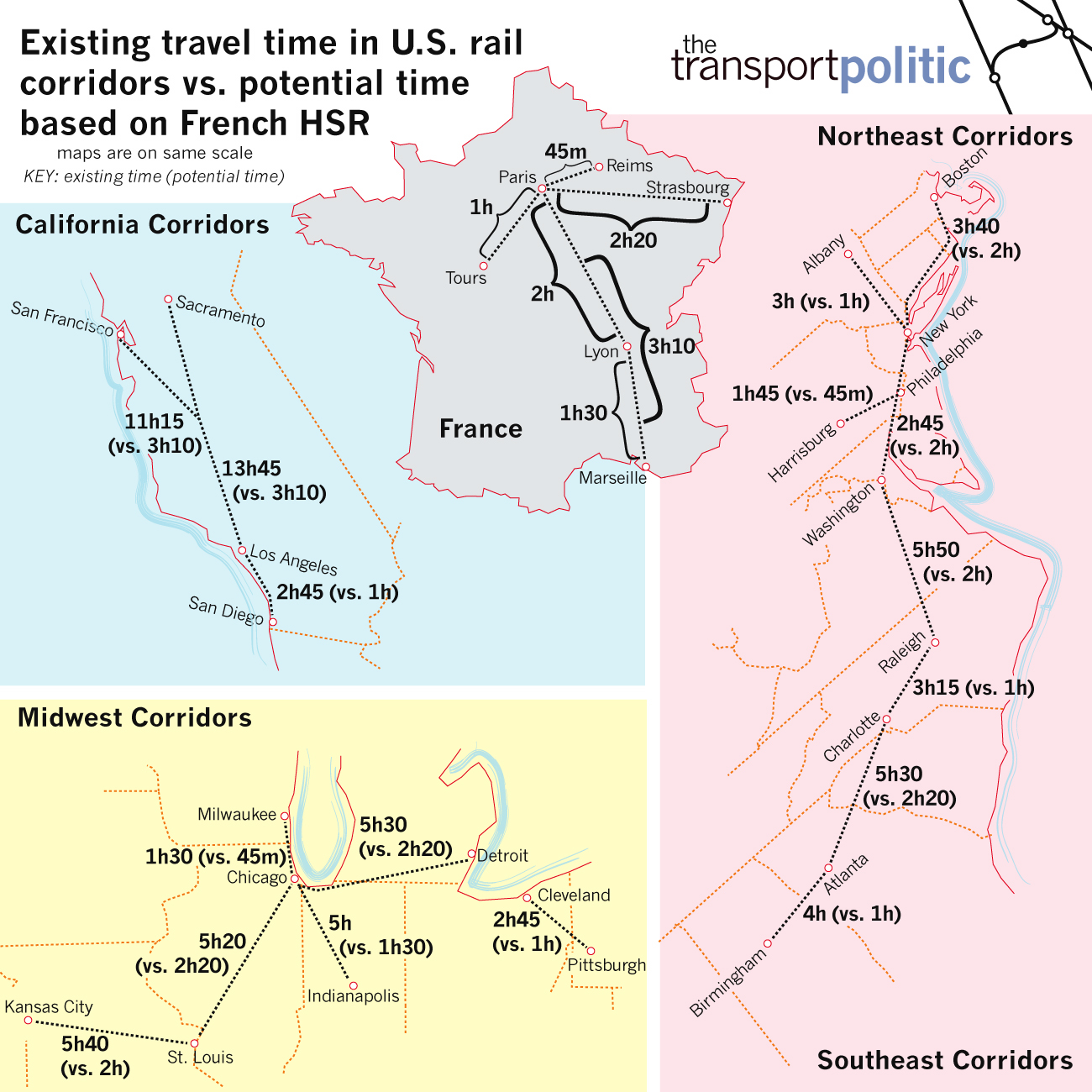 Comparing the TGV to United States Rail Corridors