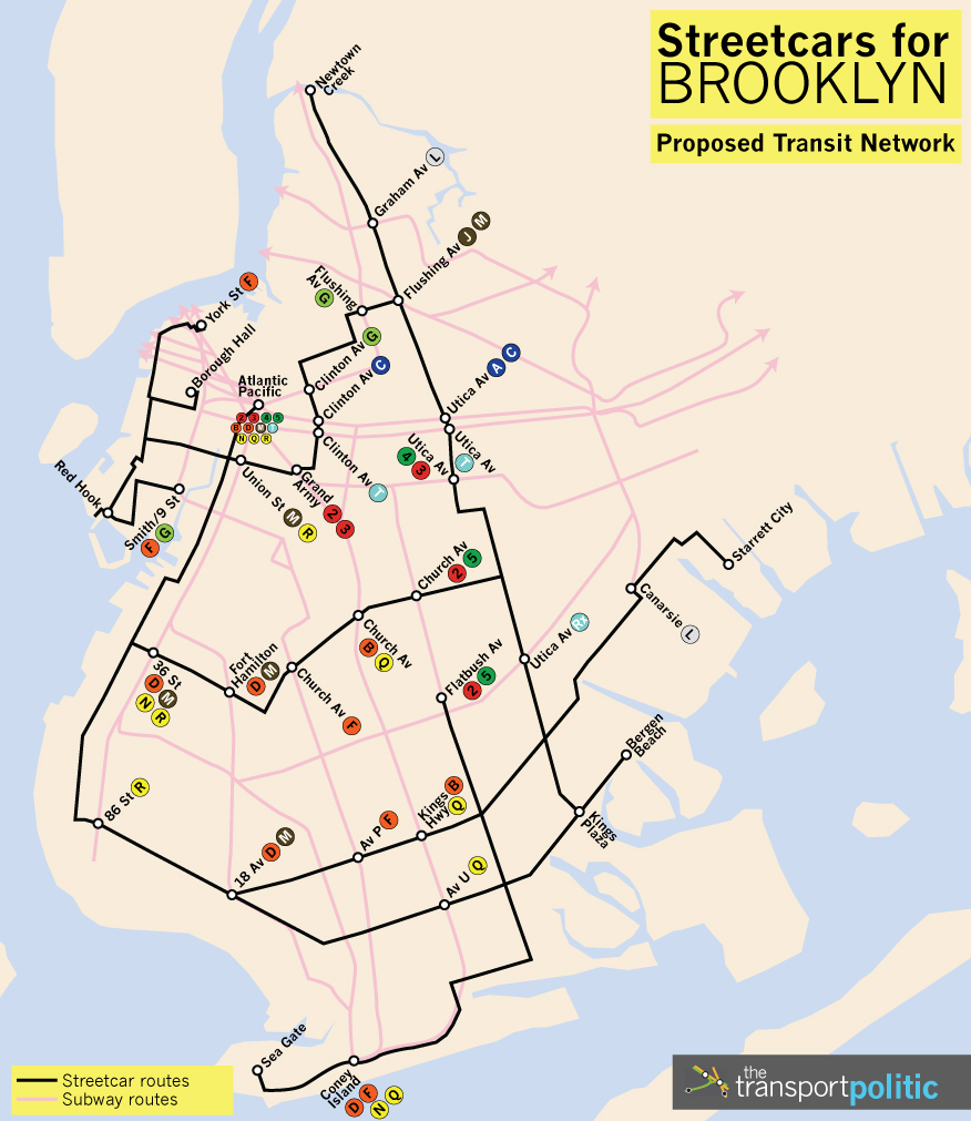 Brooklyn Proposed Streetcar Network