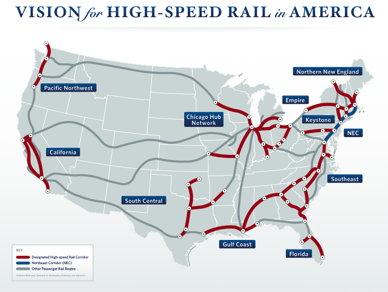 Administration Releases HighSpeed Rail Plan The Transport Politic - Map of us train routes