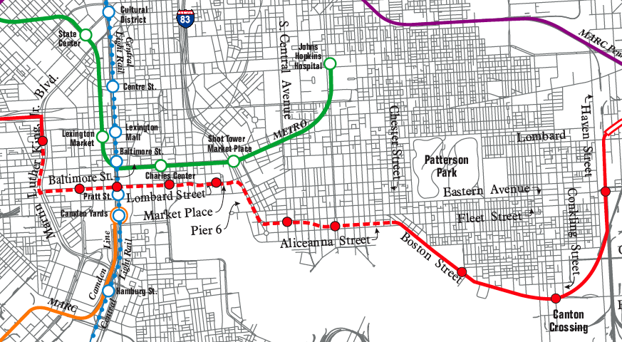 Baltimore Red Line Light Rail Map