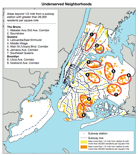 Underserved Areas by Transit New York City