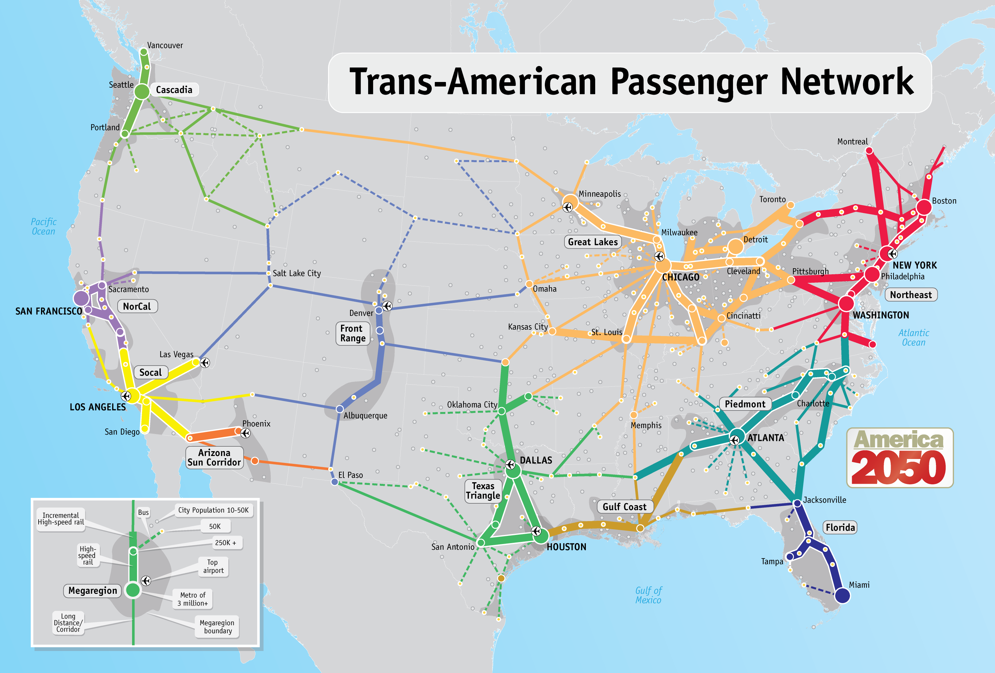America 2050 Trans-American Passenger Network