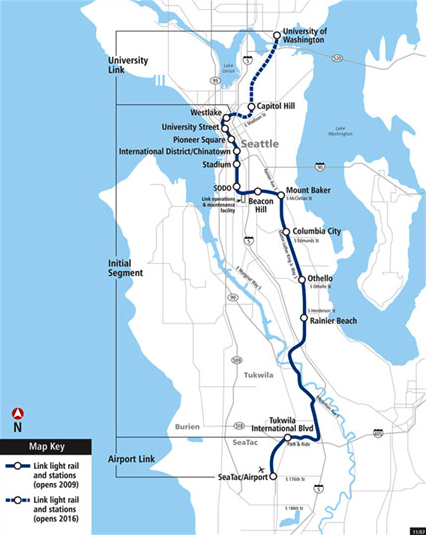 Route Map of Link light rail: Entertainment at most stations except Sodo and Stadium Station, ribbon cutting at Mt. Baker Station. Link Offers easy connections to trains, buses and other transit options.