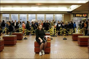 2005 Philadelphia Transit Strike - Woman Waiting to Board Regional Rail