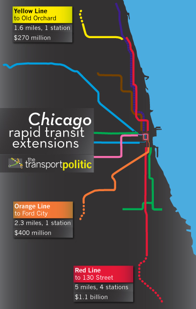 Chicago Rapid Transit Expansions Map