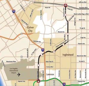 Proposed Crenshaw Corridor Light Rail Alignment Map