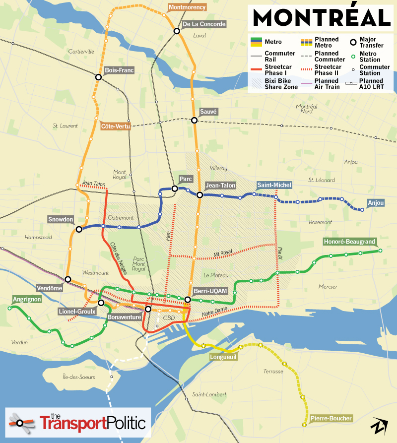 Montreal Transit Extensions Map