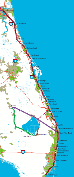 Florida East Coast Railway Studied For Potential Intercity And - Map of the east coast of florida
