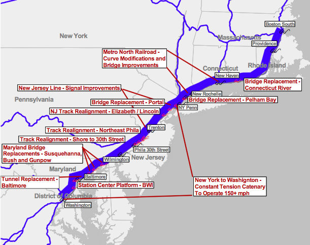 Amtrak Contemplates a Renewed Northeast Corridor and Lays ... on map of amtrak stations salt lake city, map of house of blues in boston, map of amtrak stations florida, map of amtrak stations washington, map of amtrak stations ny, map of airports in boston, map of amtrak stations texas, map of subway stations in boston, map of train stations in boston,