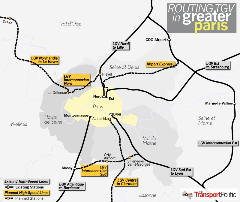 Routing TGV in Greater Paris