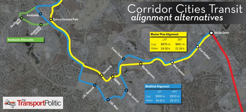 Corridor Cities Transitway Alignment Alternatives Map