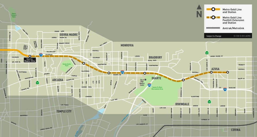 Los Angeles Subway Map New.Los Angeles Gold Line Foothill Extension Approved For Funding Will