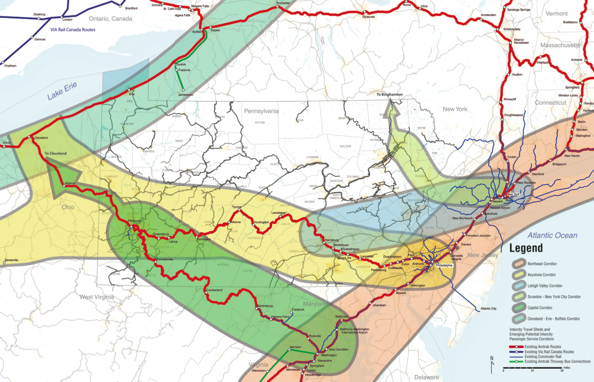 Pennsylvania Priority Passenger Rail Corridors Map