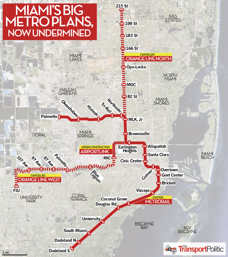 miami's long-sought plans for metro extensions dissolve as