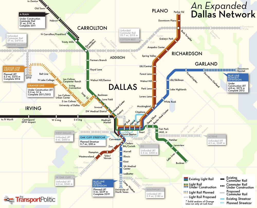 Dallas Subway Map