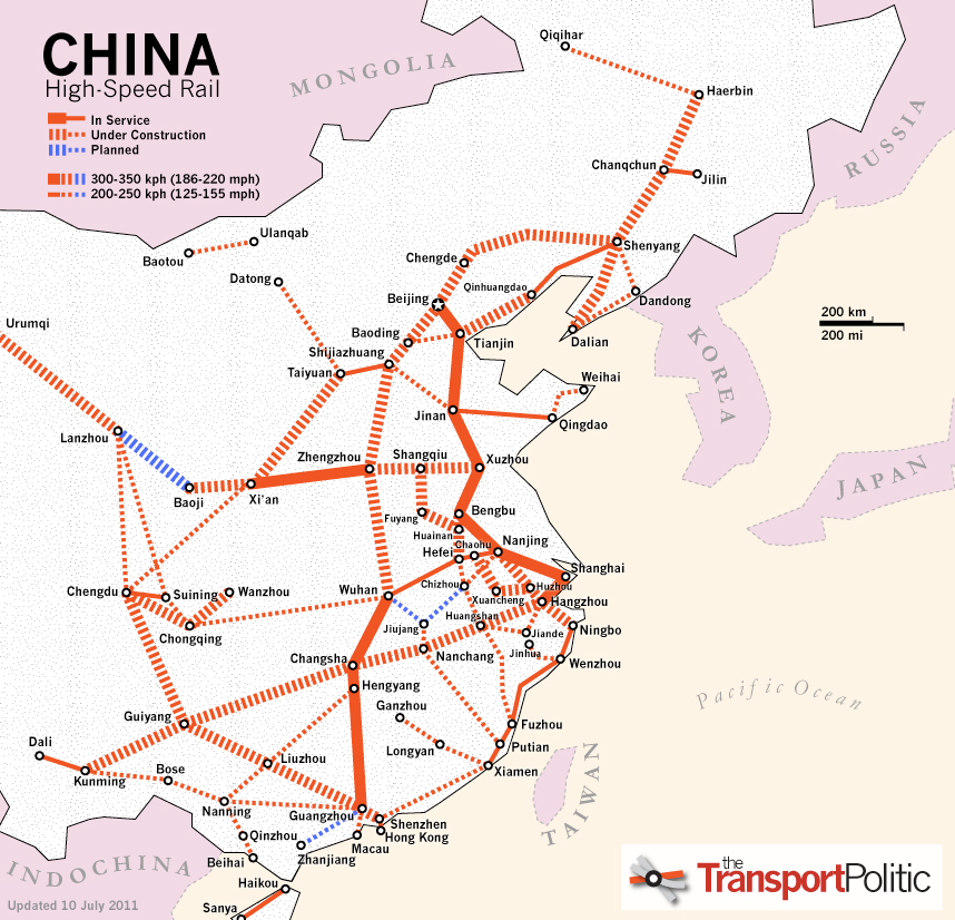 high speed rail map china High Speed Rail In China The Transport Politic high speed rail map china