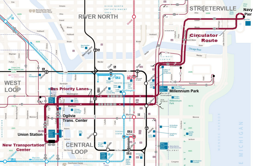 Chicago Commits To Downtown Bus Priority The Transport Politic - Downtown chicago map pdf