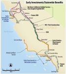 Map of the initial plans for service along the California High-Speed Rail route, showing the Madera-Bakersfield segment now approved for construction. Source: California High-Speed Rail Authority